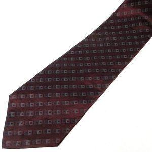 """DKNY Silk Burgundy with Squares 56"""" x 4"""" Tie"""